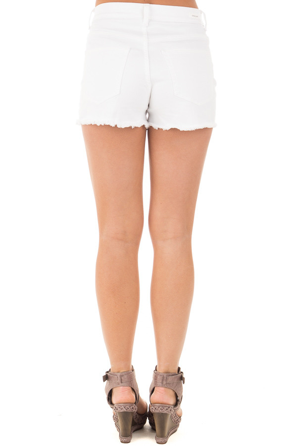 White High Rise Distressed Shorts with Unfinished Hem back view