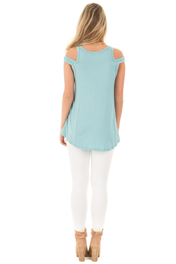 Aqua Blue Tank with Lace Up Neckline and Cut Out Details back full body