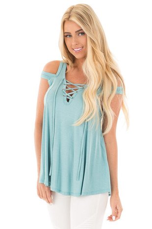Aqua Blue Tank with Lace Up Neckline and Cut Out Details front close up