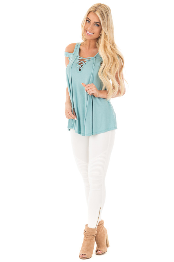 Aqua Blue Tank with Lace Up Neckline and Cut Out Details front full body