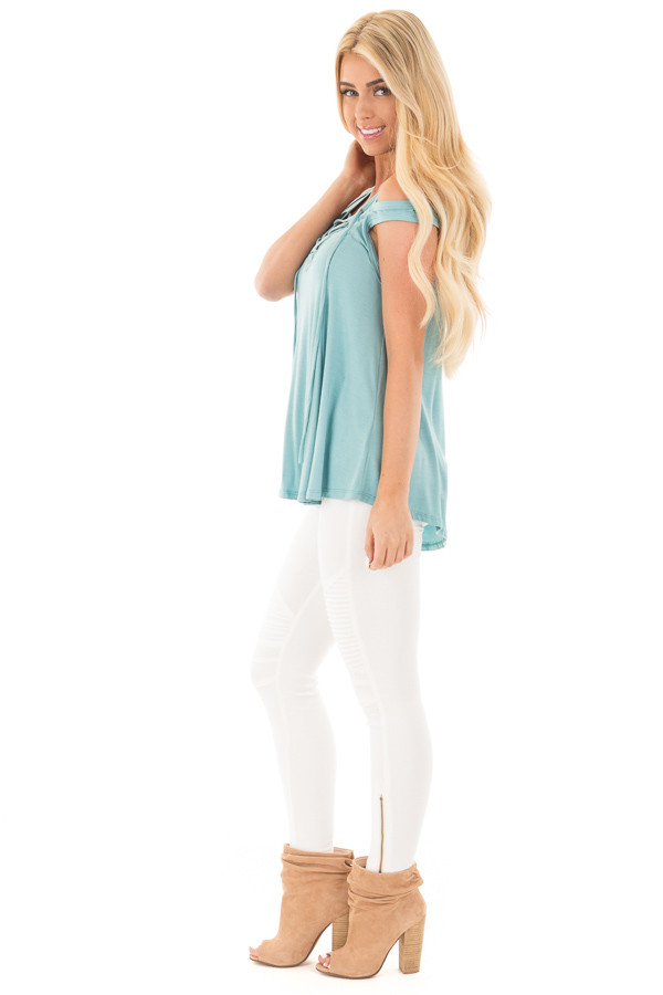 Aqua Blue Tank with Lace Up Neckline and Cut Out Details side full body