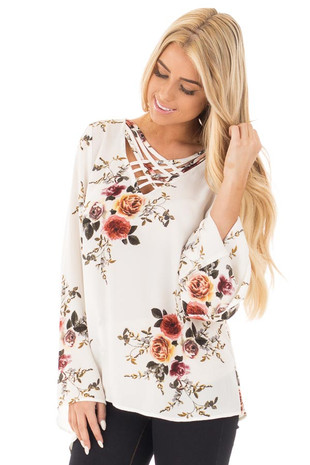 Off White Floral Print Crepe Blouse with Criss Cross Detail front close up