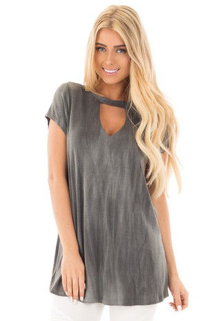Charcoal Tie Dye Jersey Knit Cut Out Mock Neck Top front close up