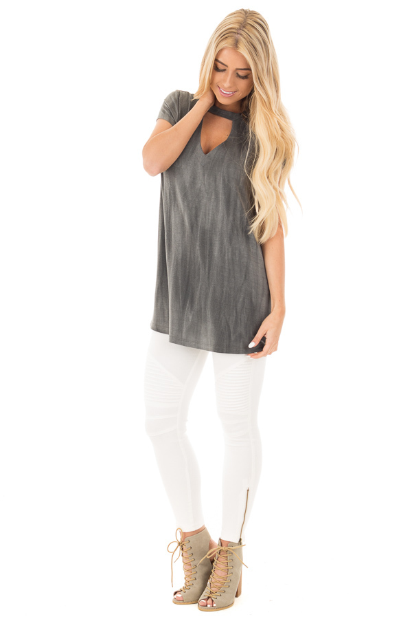 Charcoal Tie Dye Jersey Knit Cut Out Mock Neck Top front full body