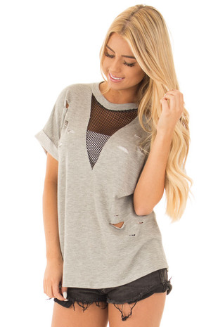 Heather Grey Distressed Tee with Deep Mesh V Neck front close up