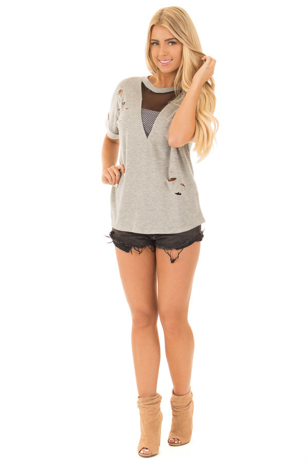 Heather Grey Distressed Tee with Deep Mesh V Neck front full body