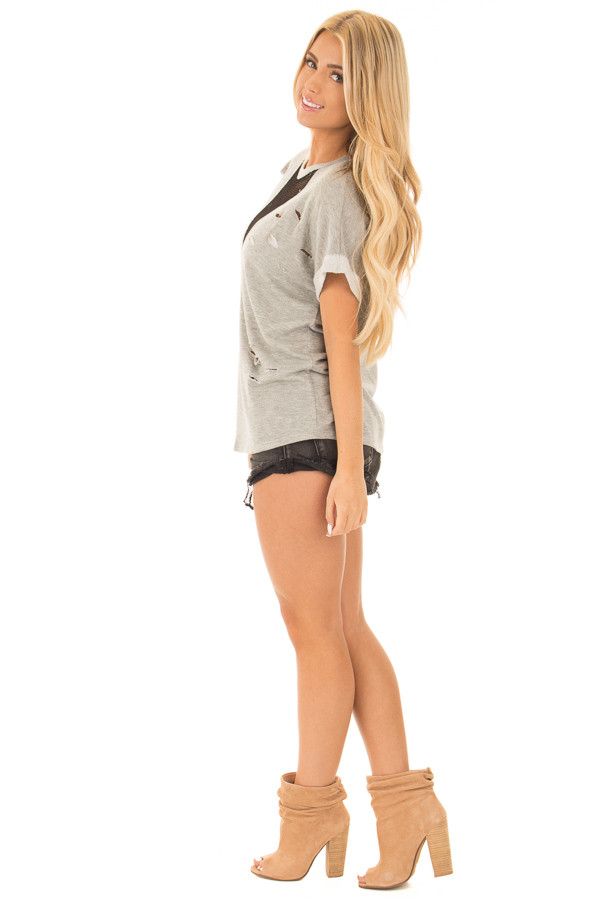 Heather Grey Distressed Tee with Deep Mesh V Neck side full body