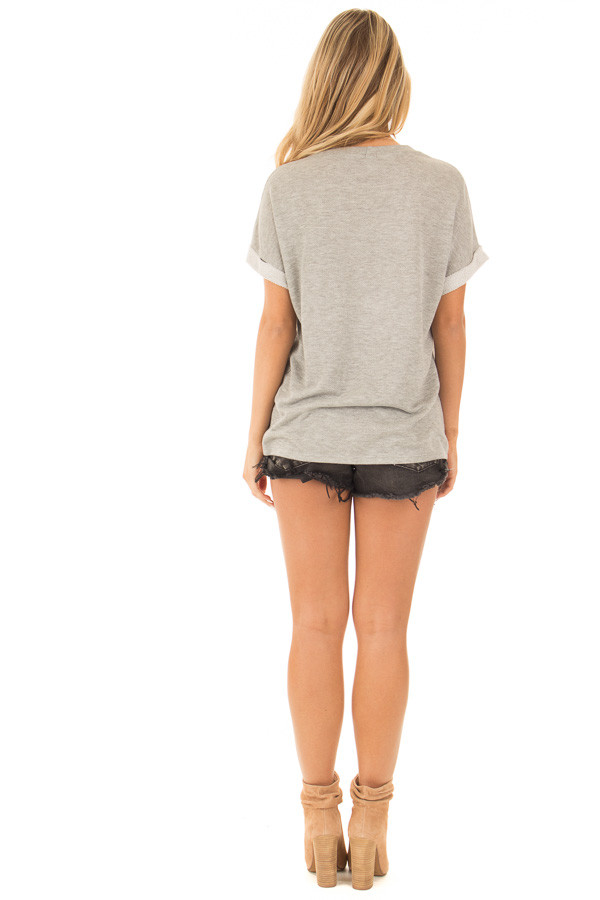 Heather Grey Distressed Tee with Deep Mesh V Neck back full body