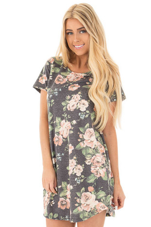Charcoal Floral Print French Terry T Shirt Dress front close up