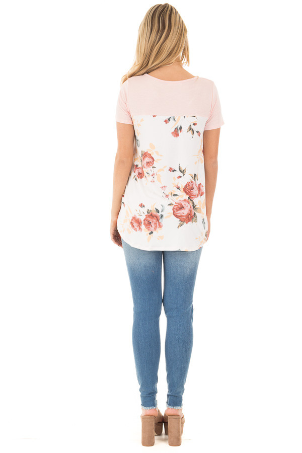 Blush Short Sleeve Criss Cross Top with Floral Print Back back full body