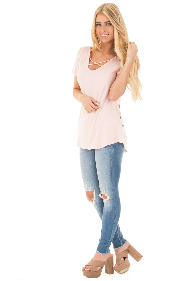 Blush Short Sleeve Criss Cross Top with Floral Print Back front full body