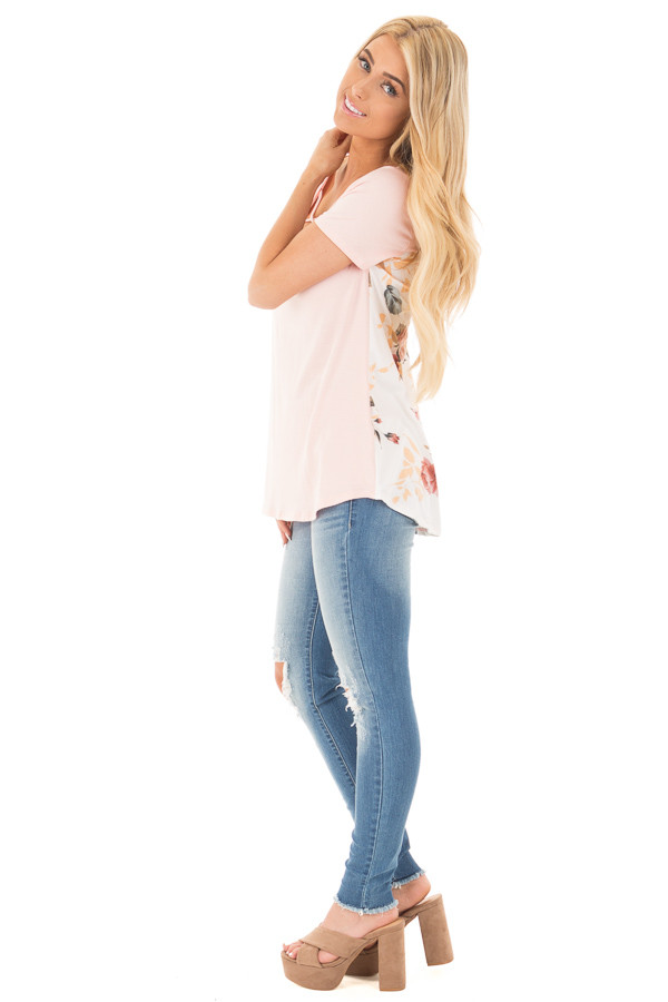Blush Short Sleeve Criss Cross Top with Floral Print Back side full body