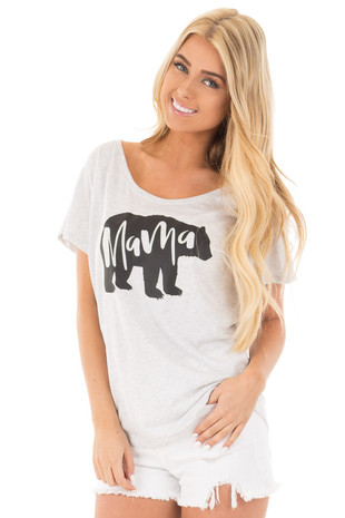 Heather Grey Dolman Tee with Black Mama Bear Design front close up
