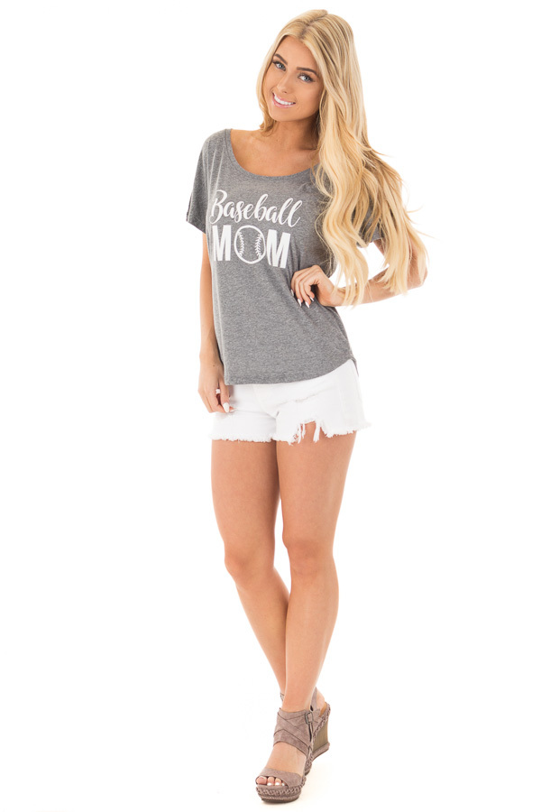 Charcoal Dolman Tee with White 'Baseball Mom' Design front full body