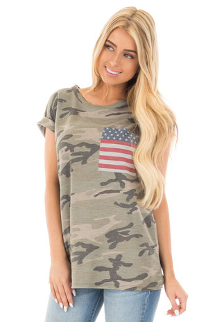 Olive Camo Tee with American Flag Breast Pocket front close up