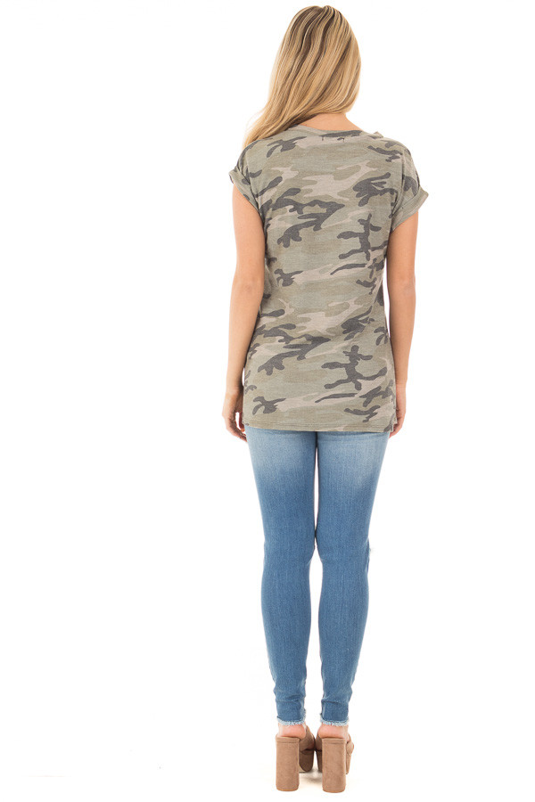Olive Camo Tee with American Flag Breast Pocket back full body