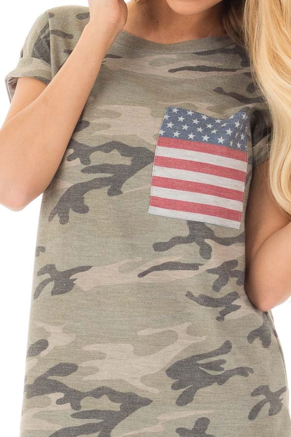 Olive Camo Tee with American Flag Breast Pocket detail