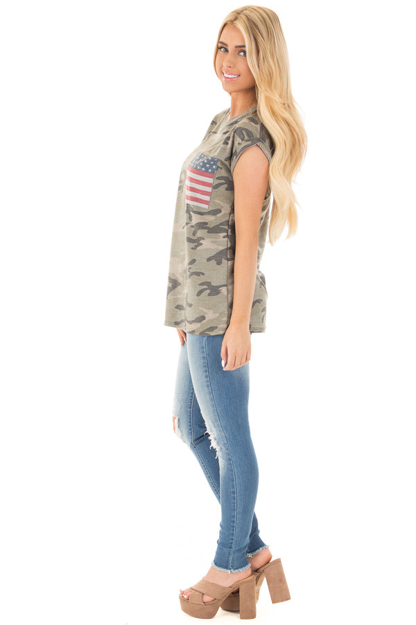 Olive Camo Tee with American Flag Breast Pocket side full body