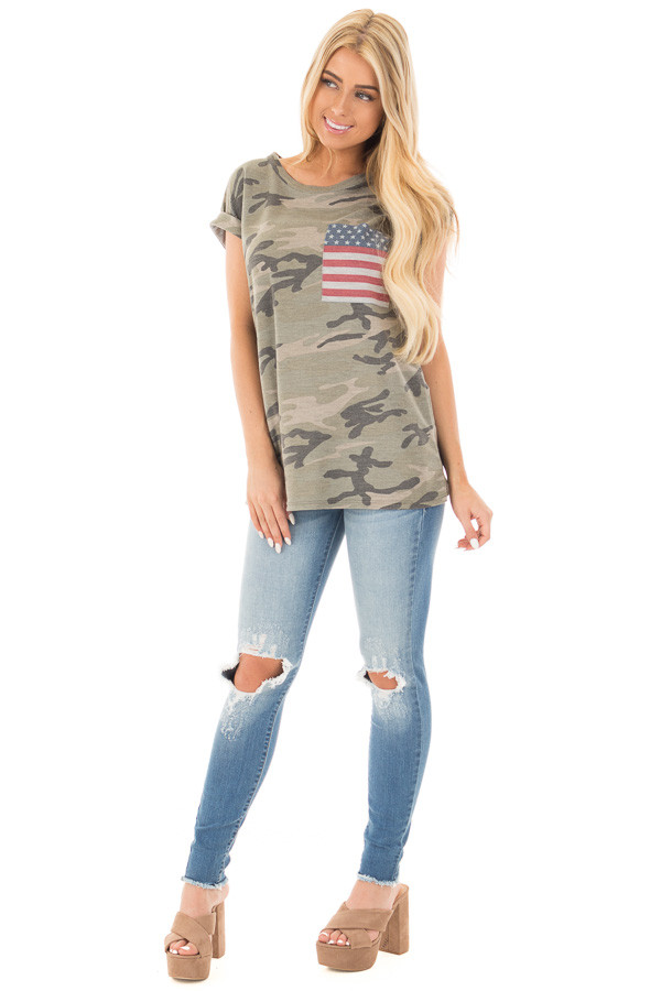 Olive Camo Tee with American Flag Breast Pocket front full body