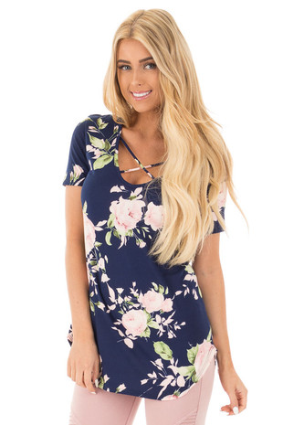Navy Super Soft Floral Print Tee with Criss Cross Neckline front close up