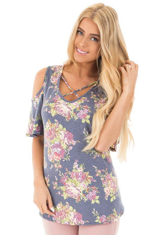 Denim Blue Floral Print Cold Shoulder Top with Criss Cross Detail front close up