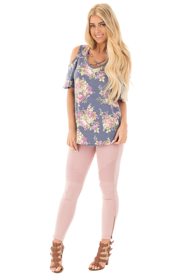 Denim Blue Floral Print Cold Shoulder Top with Criss Cross Detail front full body