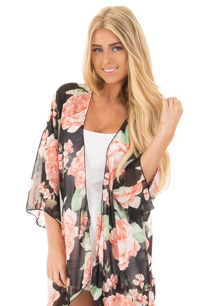 Black and Blush Floral Print Open Chiffon Kimono Cardigan front close up