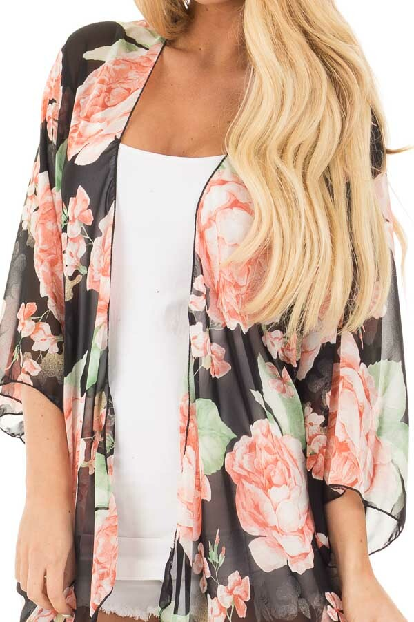Black and Blush Floral Print Open Chiffon Kimono Cardigan detail