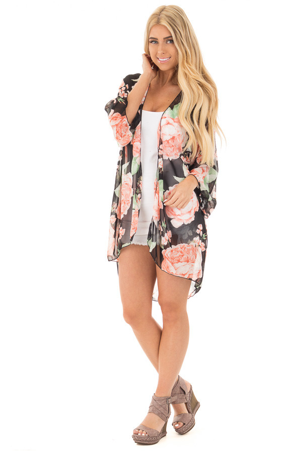 Black and Blush Floral Print Open Chiffon Kimono Cardigan front full body