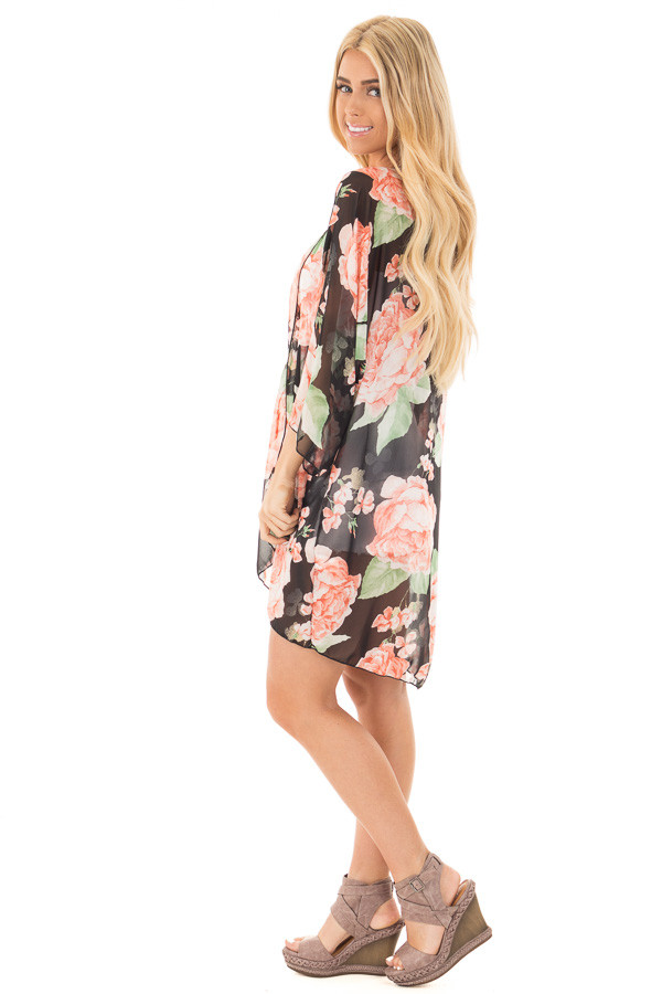 Black and Blush Floral Print Open Chiffon Kimono Cardigan side full body