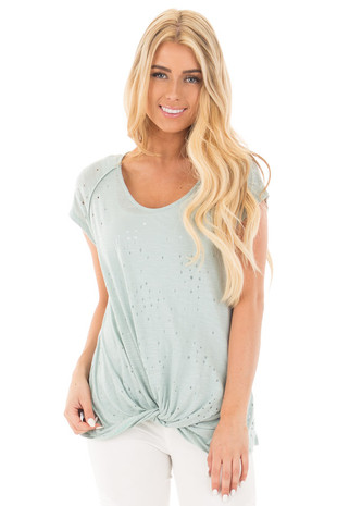 Sage Distressed Loose Fit Tee with Twist Front Detail front close up