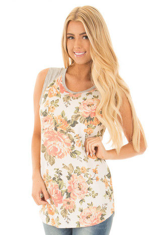 Ivory Floral Print Tank with Heather Grey Contrast front close up