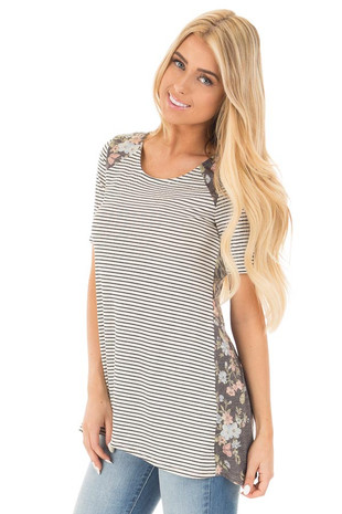Ivory Striped Tee with Navy Floral Print Back Contrast front close up