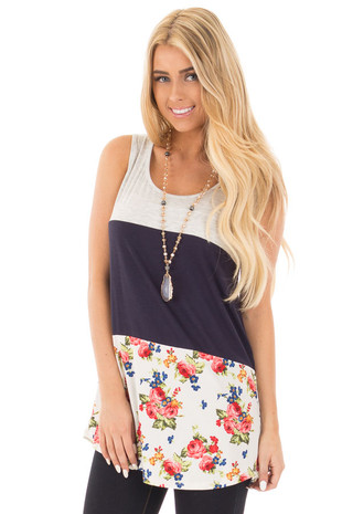 Navy Color Block Tank with Crochet and Button Back Details front close up