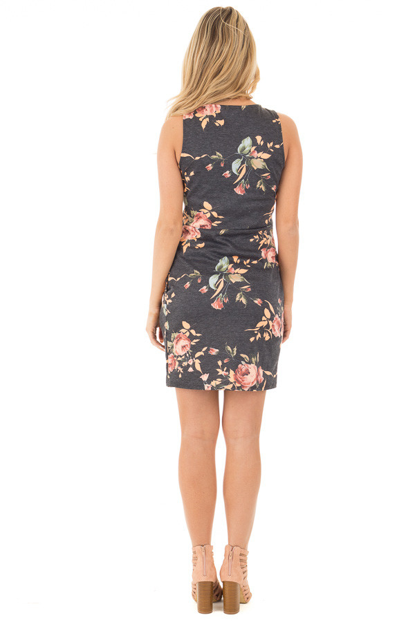 Charcoal Floral Print Sleeveless Dress with Side Pockets back full body