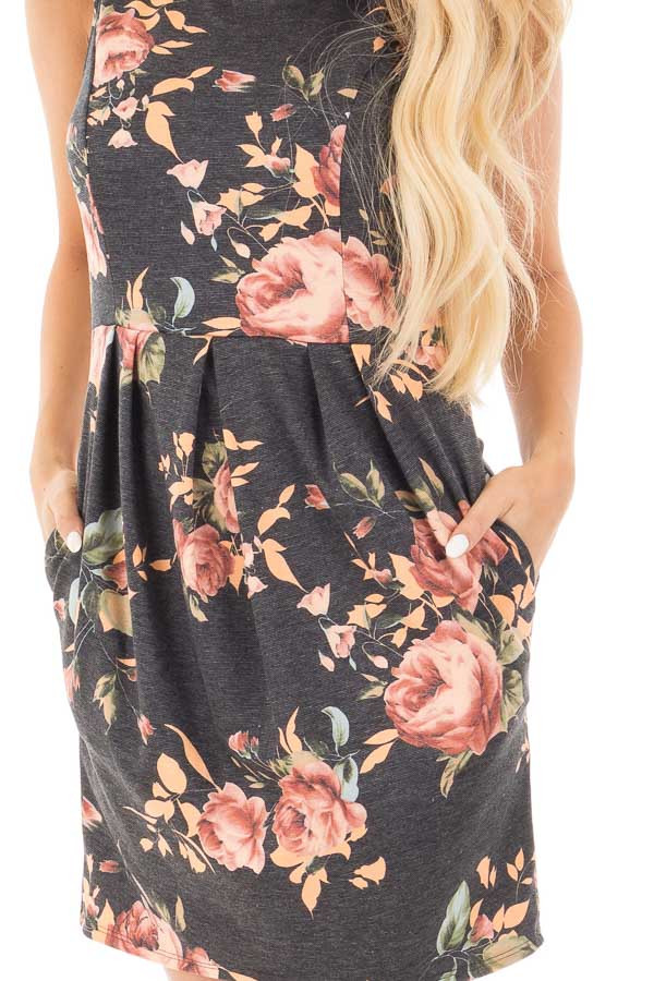 Charcoal Floral Print Sleeveless Dress with Side Pockets detail