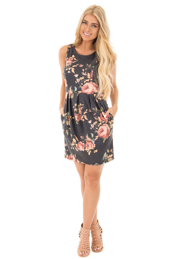 Charcoal Floral Print Sleeveless Dress with Side Pockets front full body
