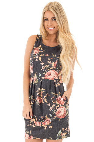 Charcoal Floral Print Sleeveless Dress with Side Pockets front close up