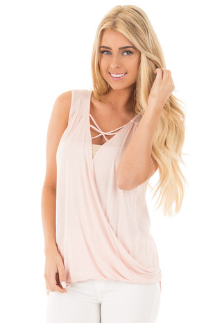 Light Rose Crossover Drape Tank with Caged Neckline front close up
