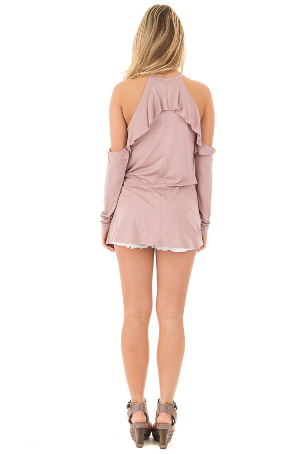 Mauve Cold Shoulder Halter Tunic Top with Ruffle Detail back full body