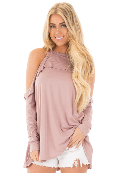 Mauve Cold Shoulder Halter Tunic Top with Ruffle Detail front close up