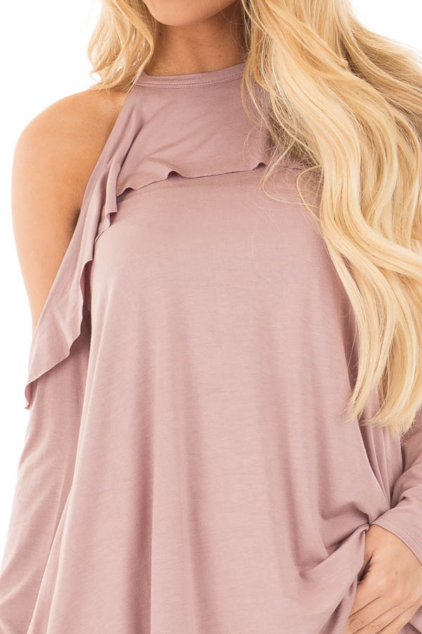 Mauve Cold Shoulder Halter Tunic Top with Ruffle Detail detail