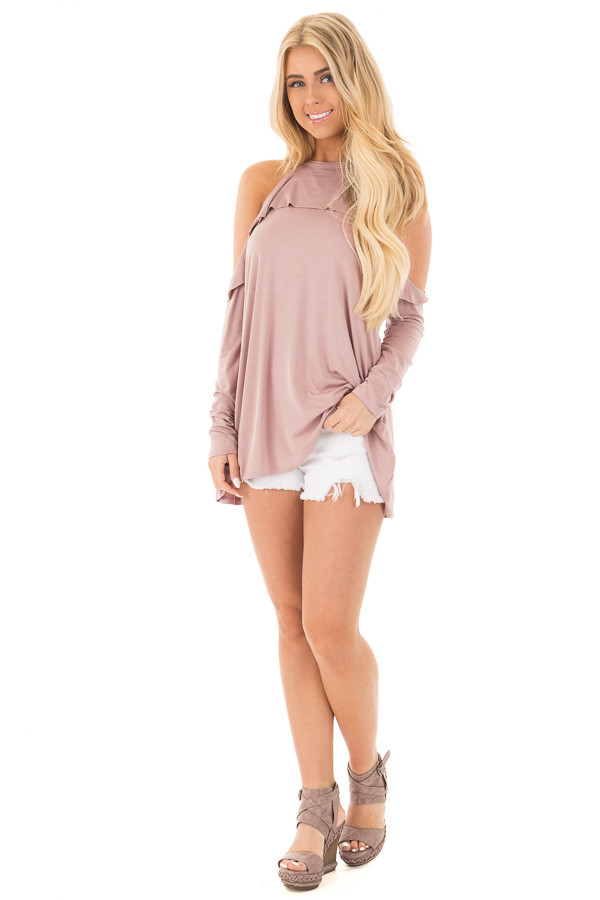 Mauve Cold Shoulder Halter Tunic Top with Ruffle Detail front full body