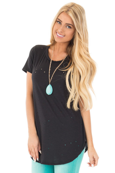 Black Distressed Loose Fit Short Sleeve Top front close up