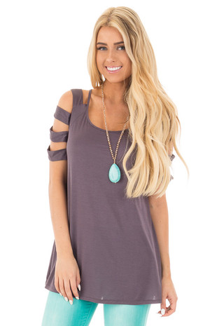 Titanium Grey Boat Neck Tunic Top with Ladder Cut Out Detail front full body