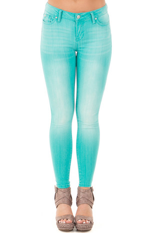Bright Teal Mid Rise Stretch Skinny Jeans front view
