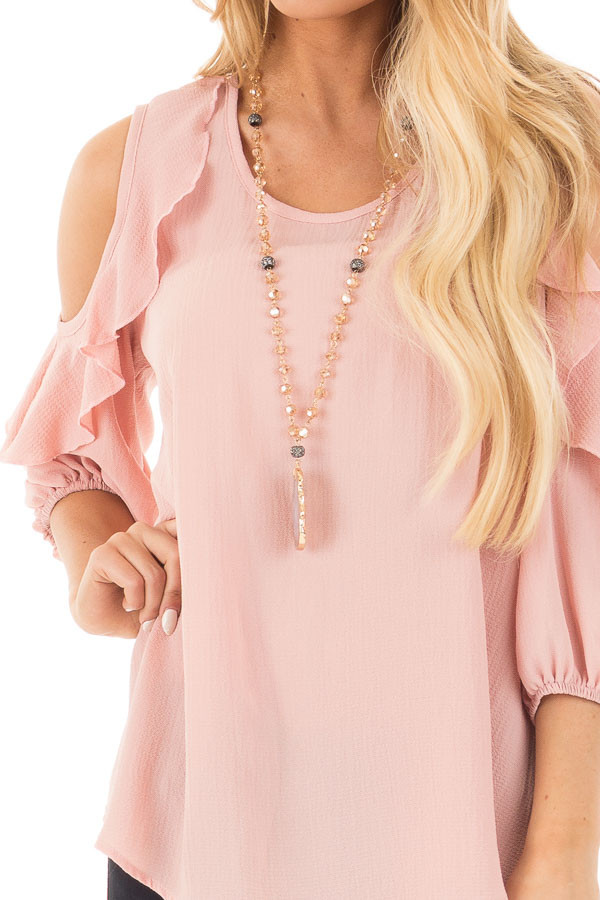 Blush Cold Shoulder Top with 3/4 Sleeves and Ruffle Detail detail