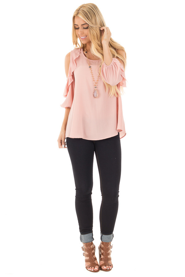 Blush Cold Shoulder Top with 3/4 Sleeves and Ruffle Detail front full body