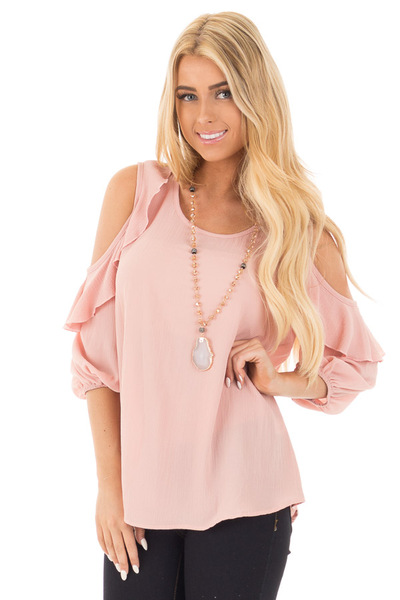 Blush Cold Shoulder Top with 3/4 Sleeves and Ruffle Detail front close up