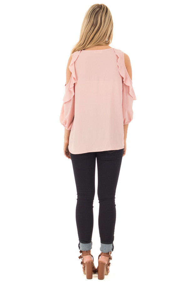 Blush Cold Shoulder Top with 3/4 Sleeves and Ruffle Detail back full body